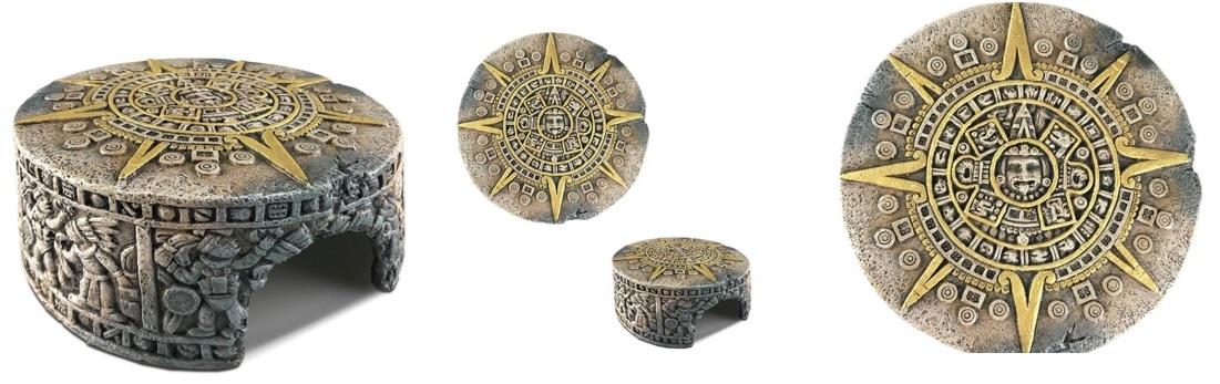 Exoterra Cachette Aztèque en forme de pierre du soleil