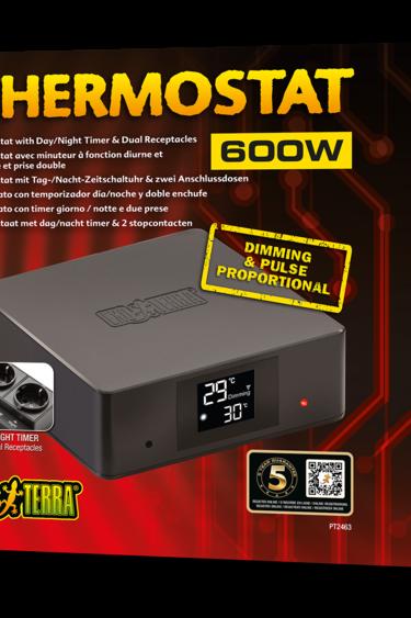 Exoterra Thermostat avec minuteur a fonction diurne et prise double 600w