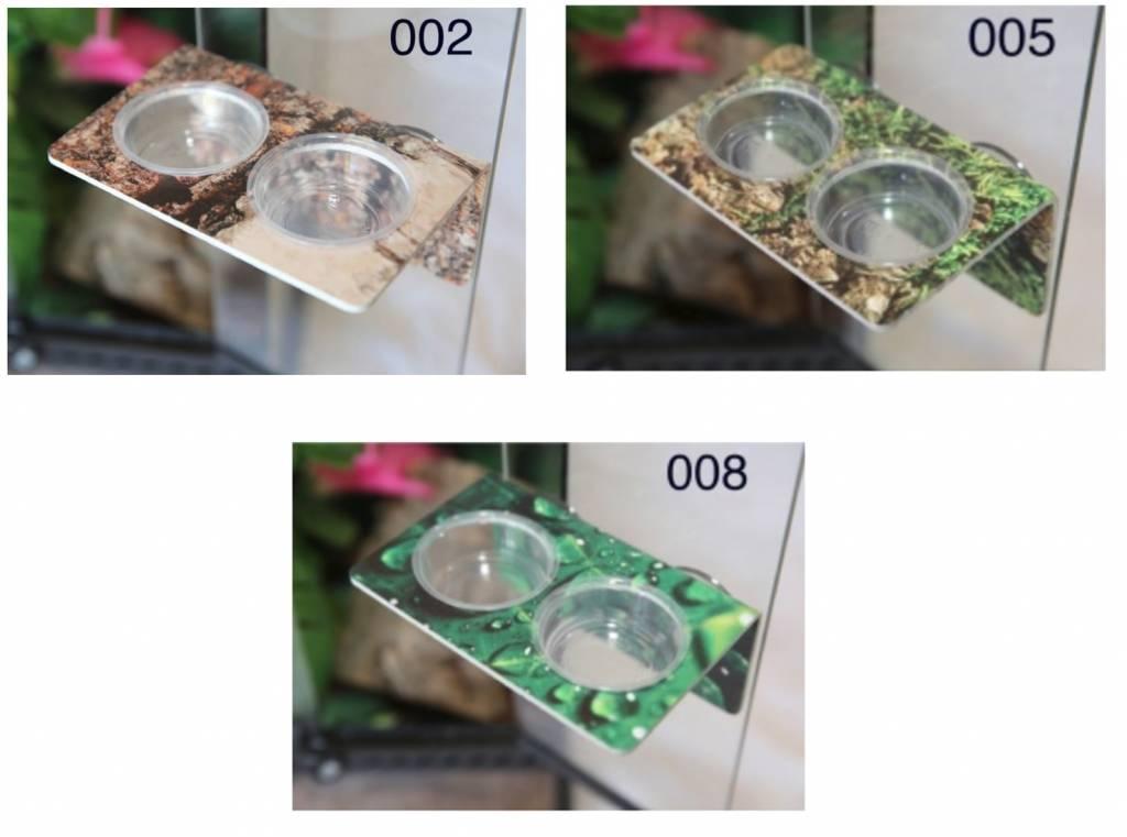 C3 Ledges Bol large pour gecko à 2 contenants de 1.5 oz à ventouse - Large gecko ledge - suction cup