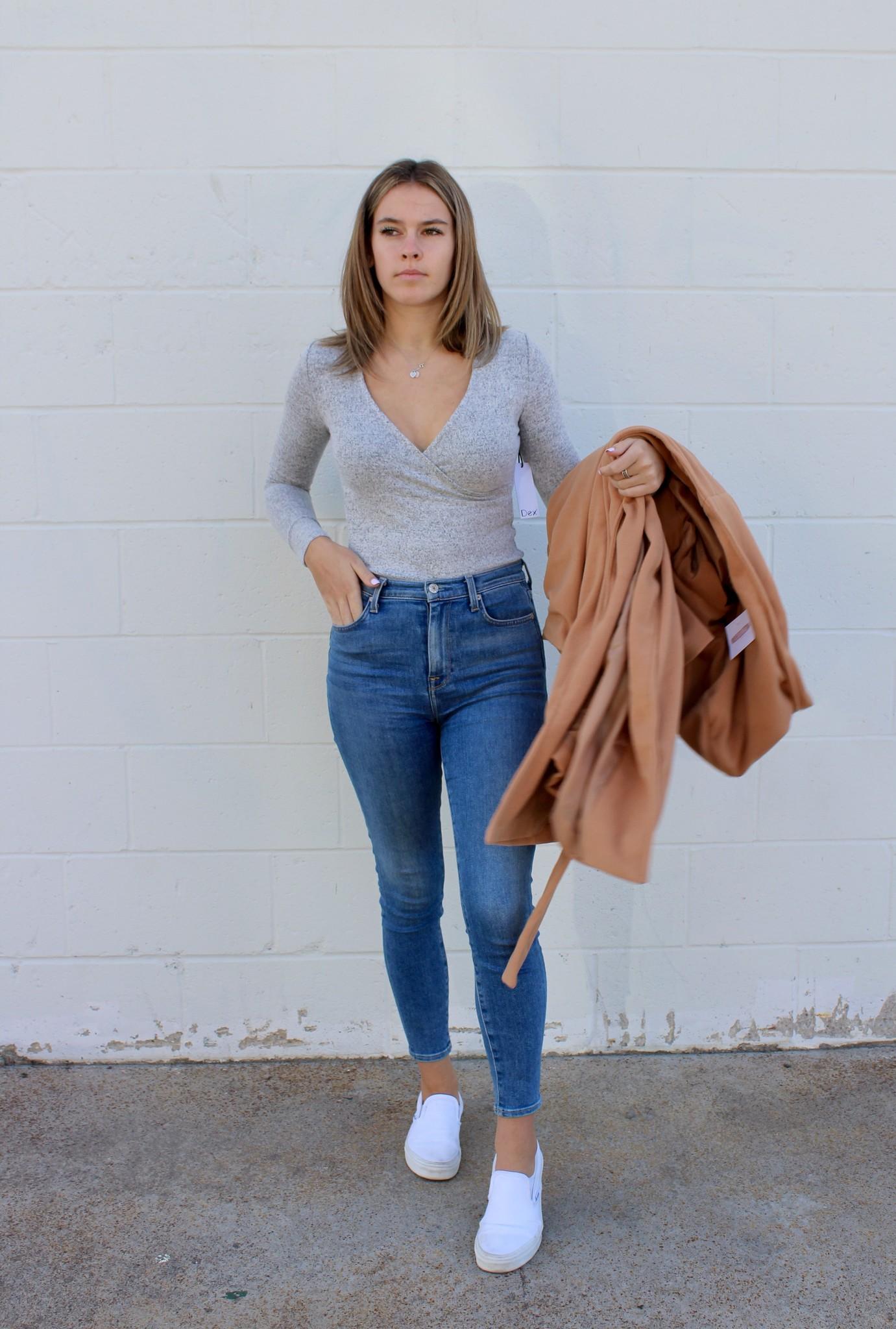 Dex Wrap Bodysuit Grey