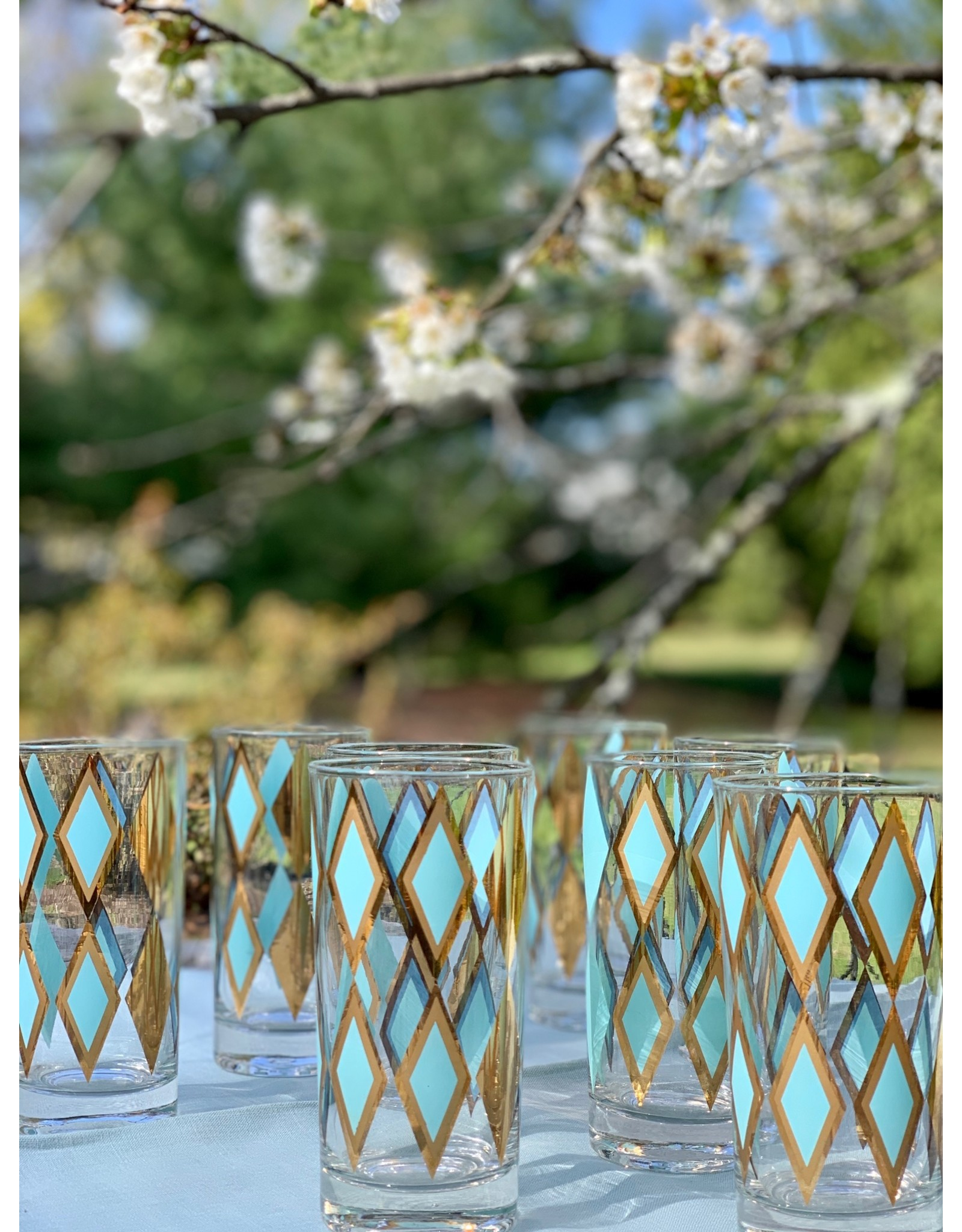 Vintage Highball Glasses—Gold and Aqua Diamonds
