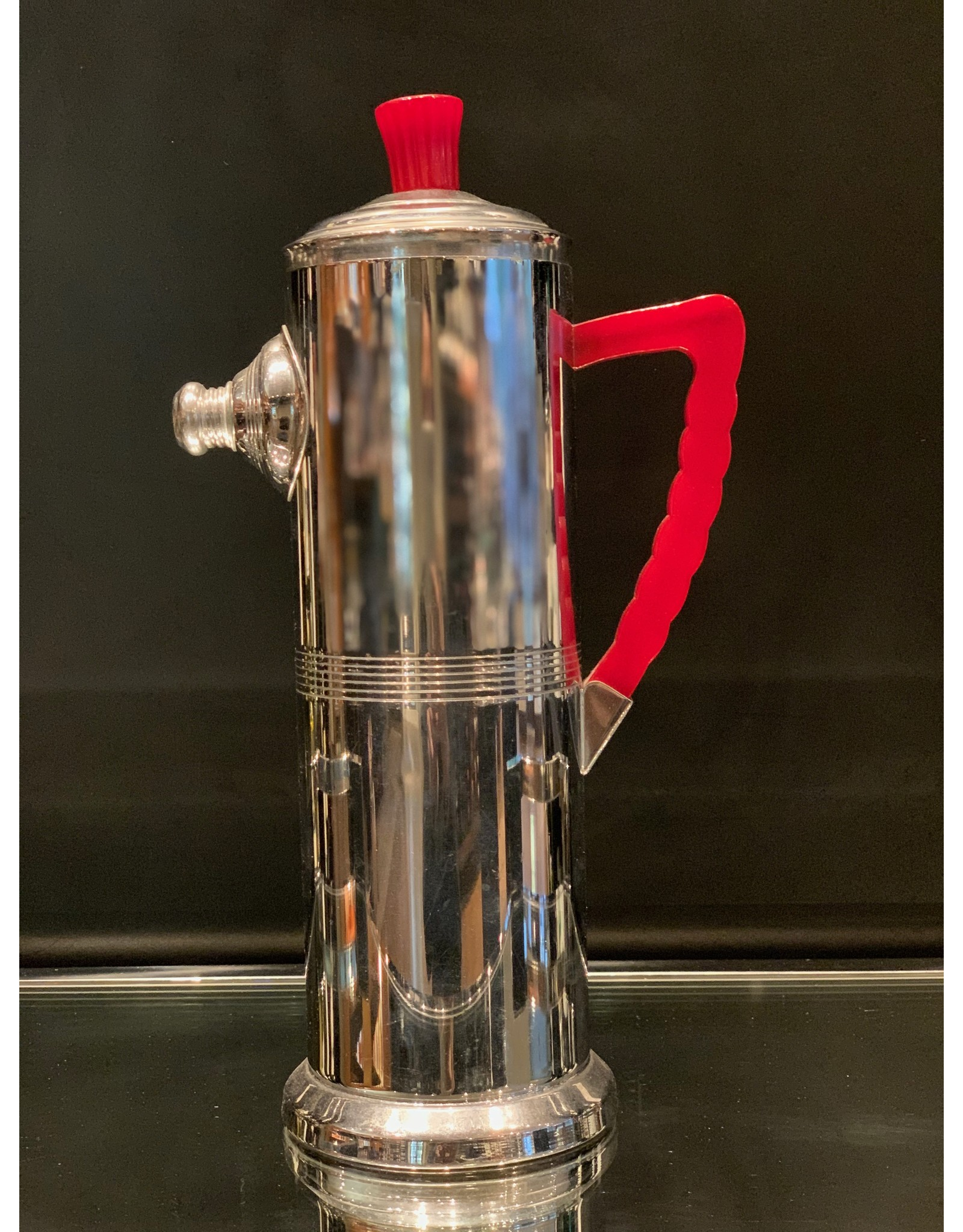 Art Deco Cocktail Shaker Chrome with Red Bakelite Handle