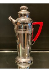 Keystonware Cocktail Shaker Chrome with Red Bakelite Handle