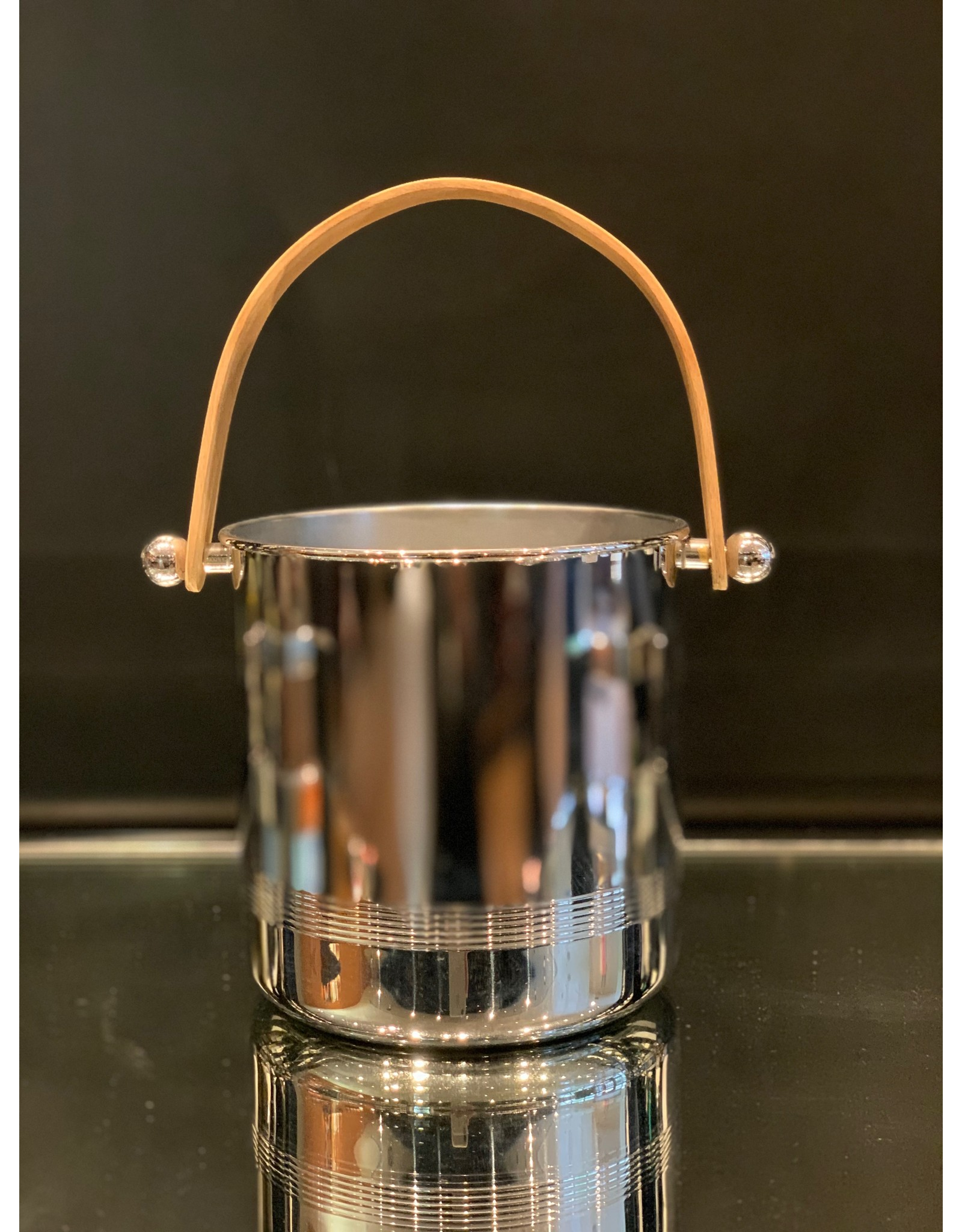 Manning-Bowman Ice Bucket Chrome with Teak Handle