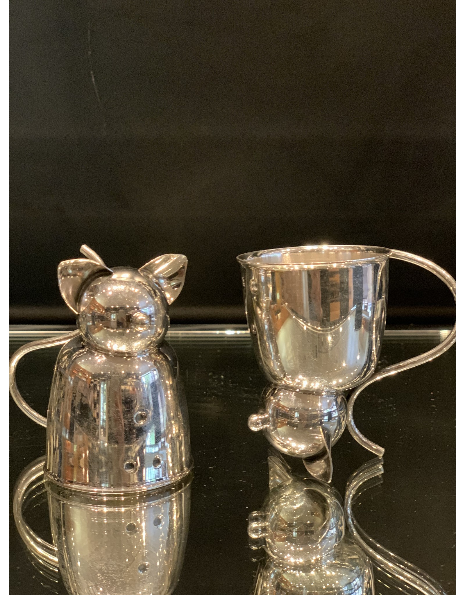Napier Jigger Silver Plate Cat with Bell (One Piece)
