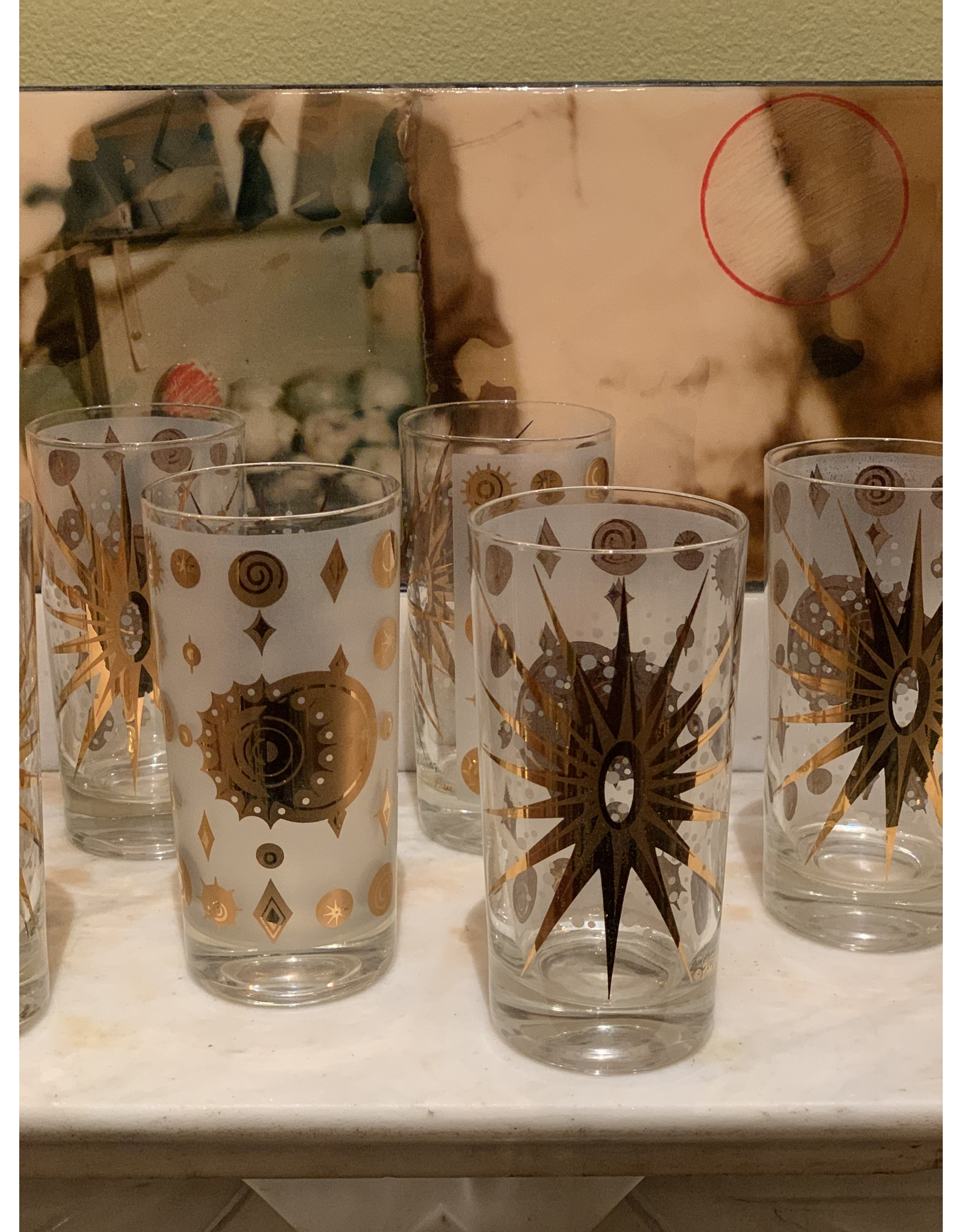 Fred Press Highball Glasses—White Atomic Starburst