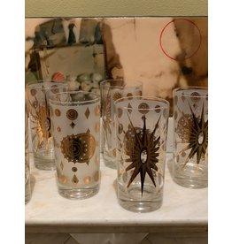 Fred Press Highball Glasses—White Atomic Starburst
