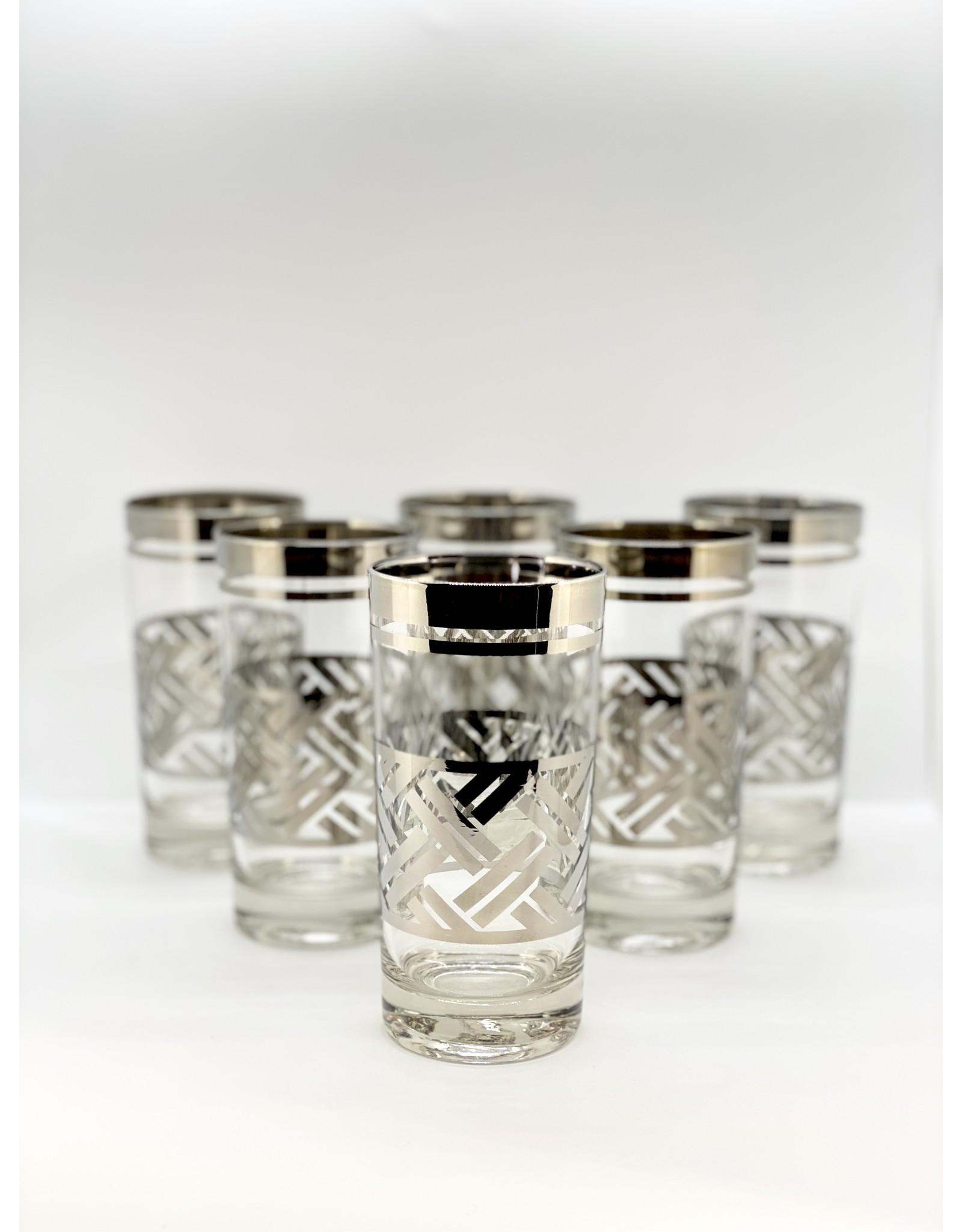 Silver Highball Glasses—Basketweave