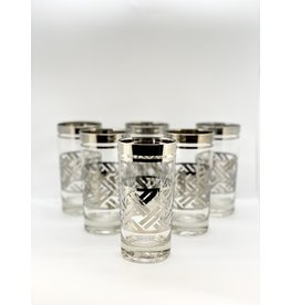Silver Highball Glasses—Basketweave