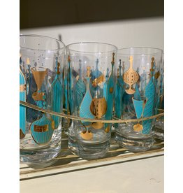 Gay Fad High Ball Glasses Aqua and Gold Decanters and Glasses Pattern