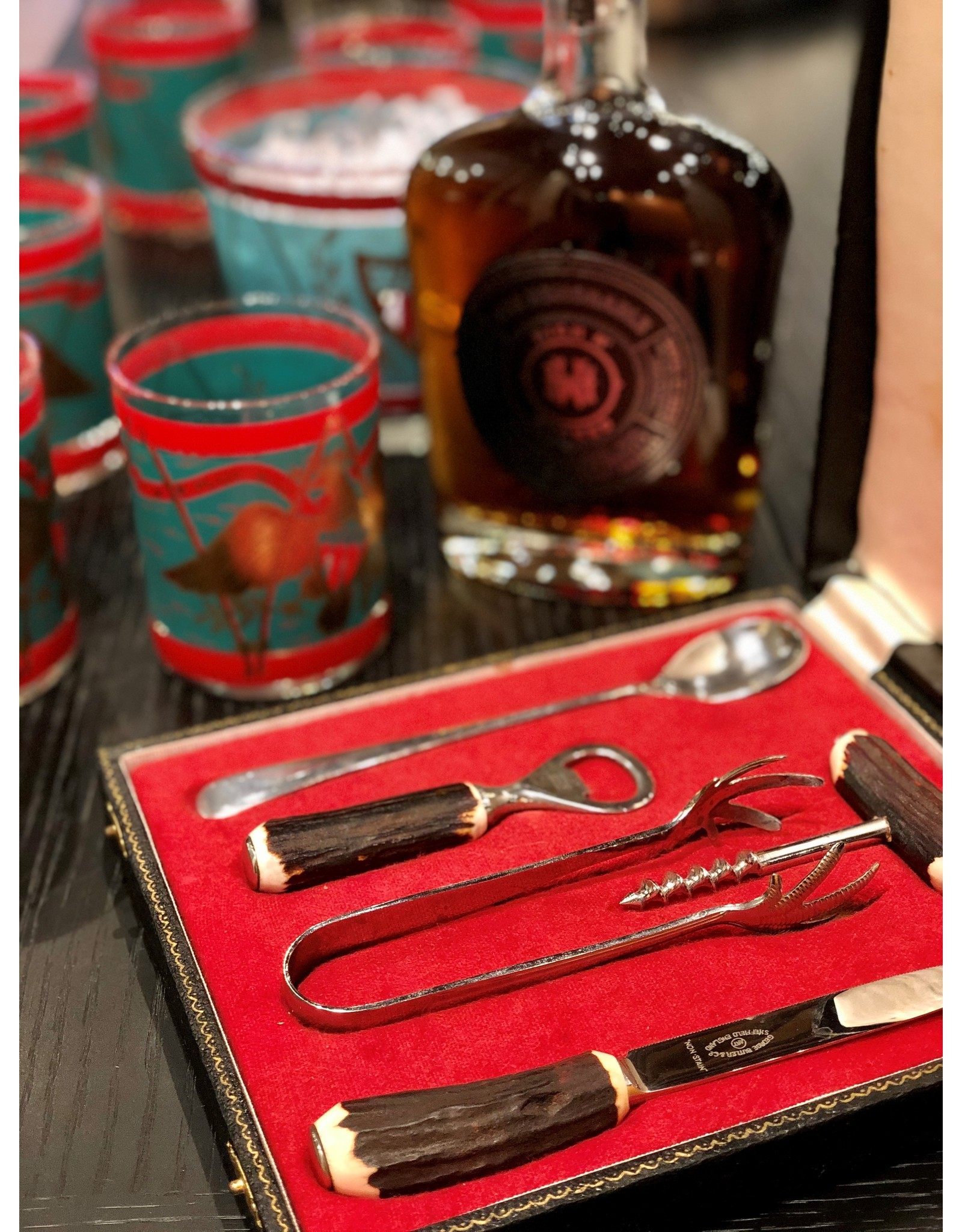 George Butler & Co 5-Piece Bar Tool Set with Horn Handles