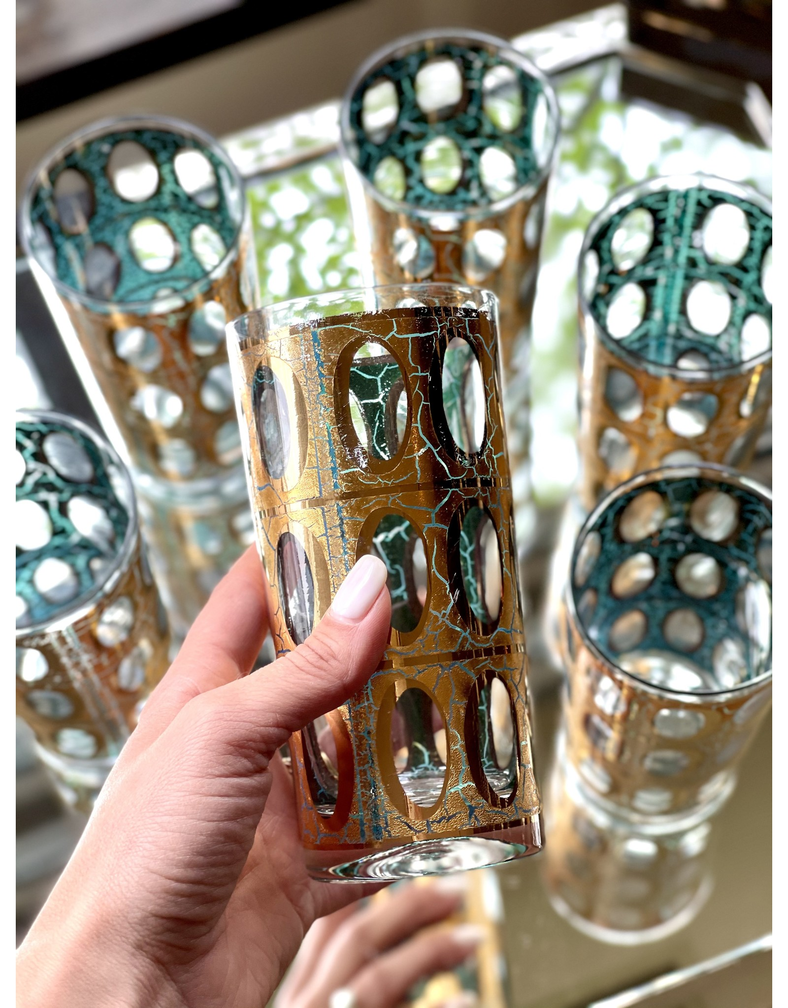 Culver Highball Glasses Pisa Pattern (Set of 8)
