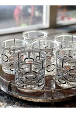 Cera Rocks Glasses Chain Link Black & White (Set of 6)