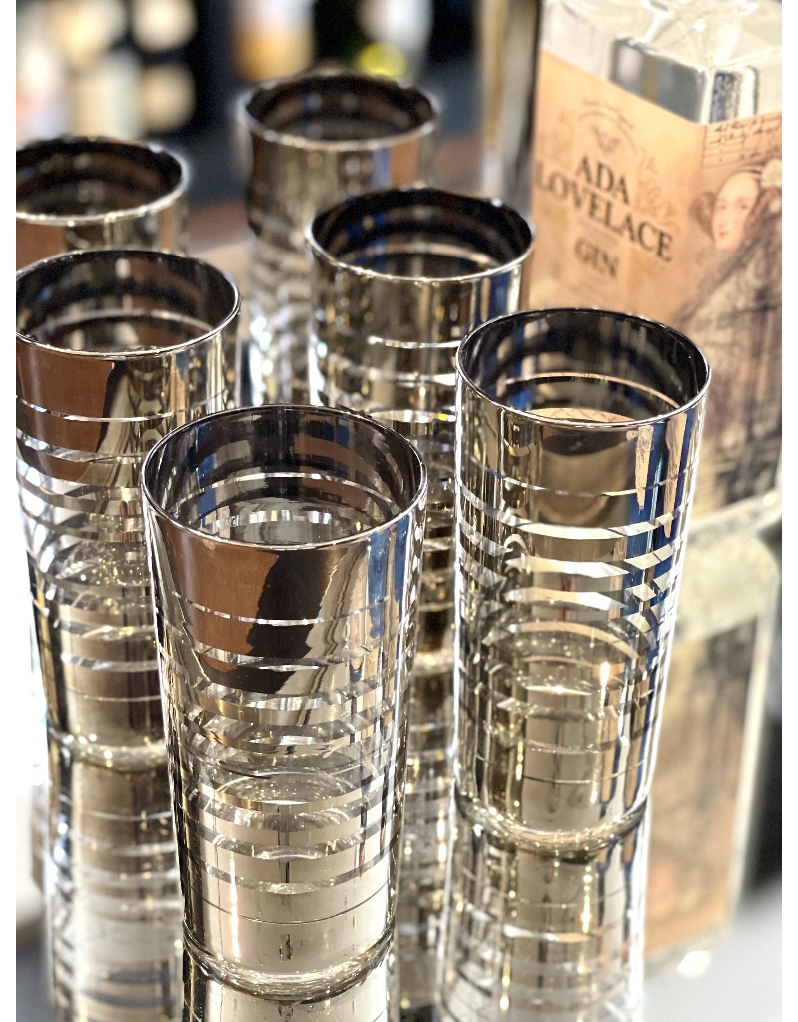 Libbey Highball Graduated Silver Bands (Set of 6)