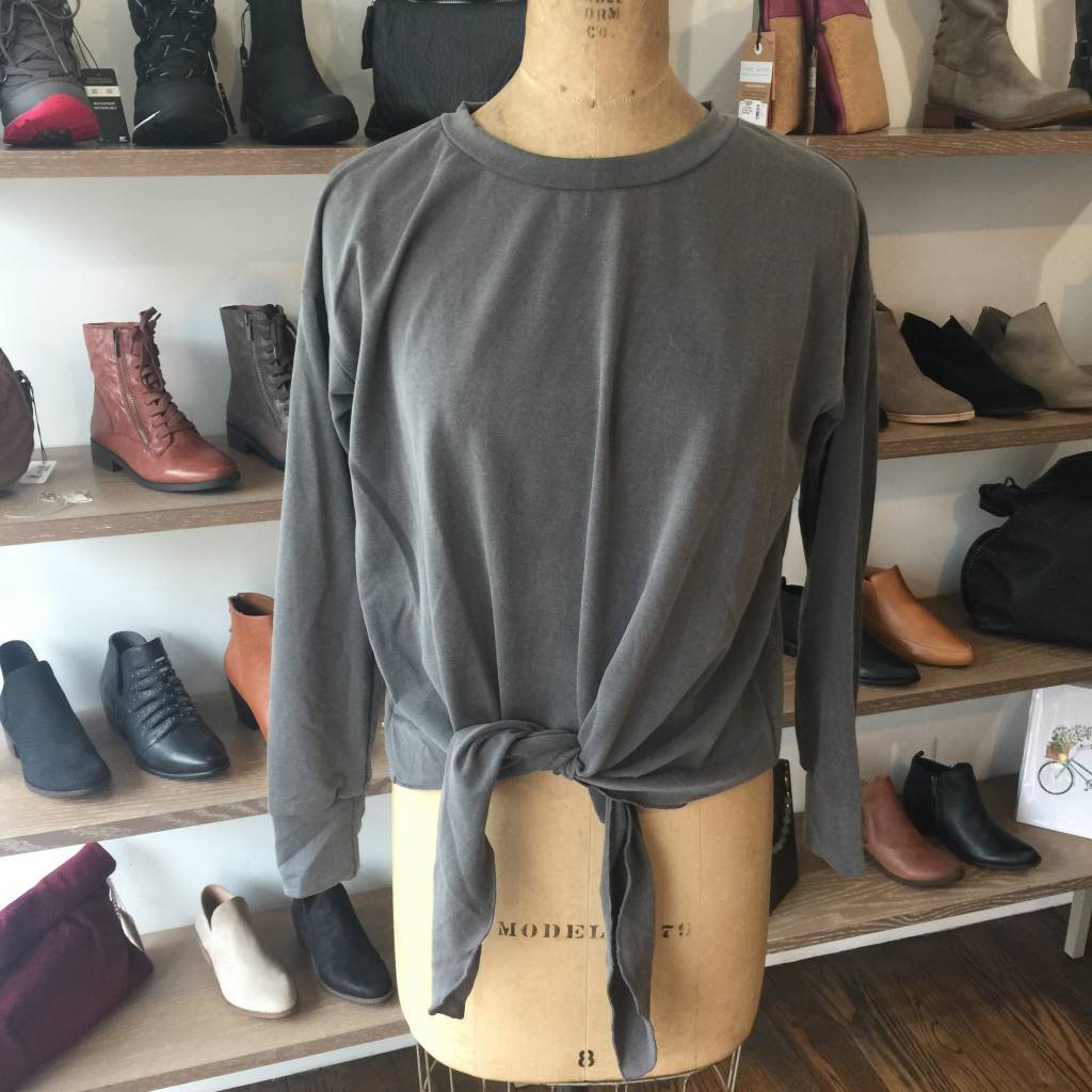 Elan Tie Front Long Sleeve - Charcoal