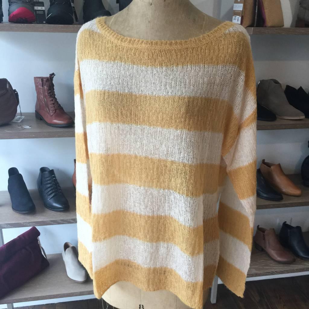 Elan Oversized Sweater - Mustard Stripe - CLEARANCE