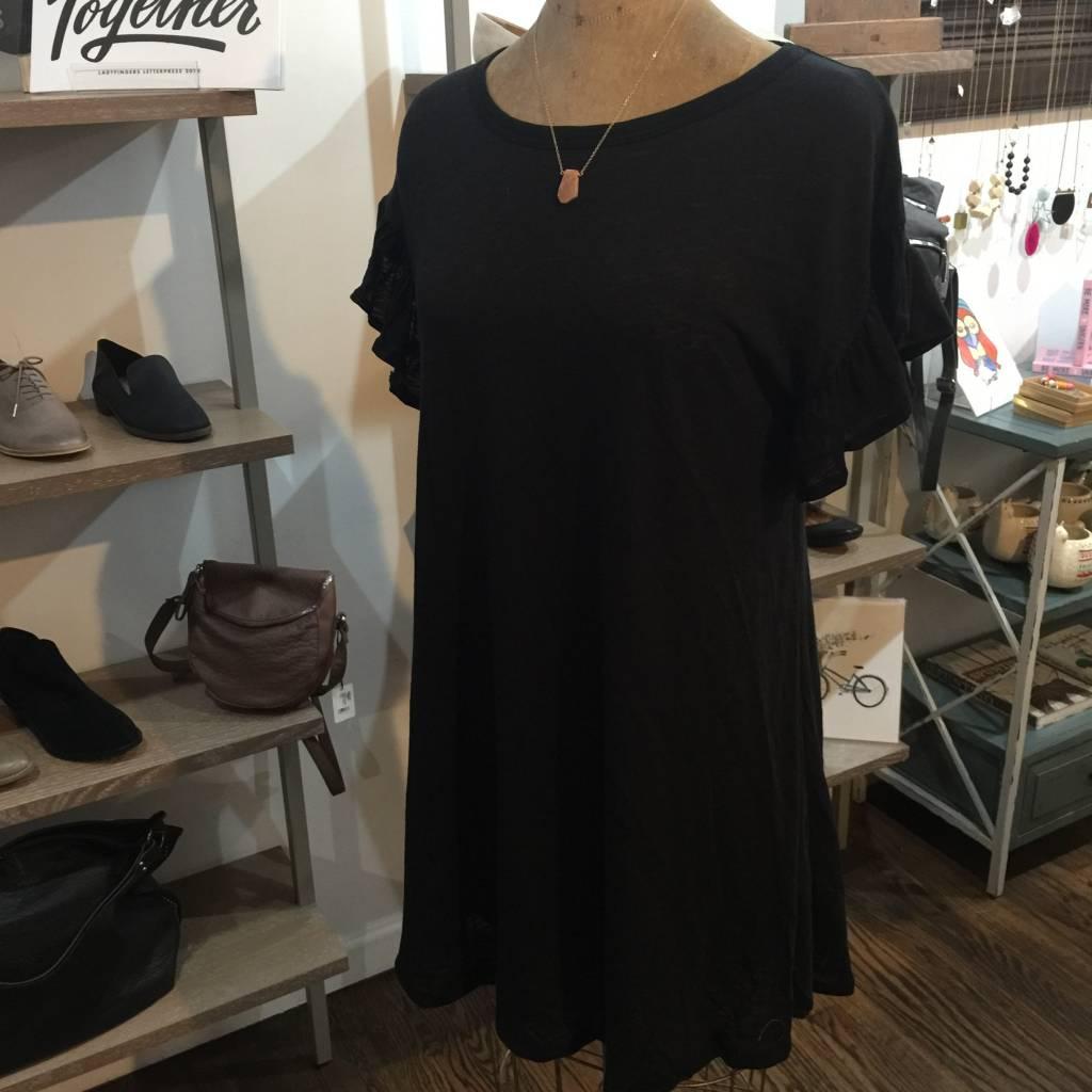 Elan Short Ruffle Slv Dress - Black
