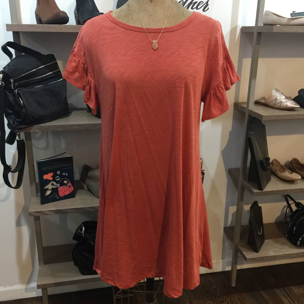 Elan Short Ruffle Slv Dress - Clay