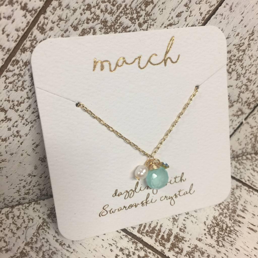 Bonnie Jonas Birthstone Necklace - March/Aqua