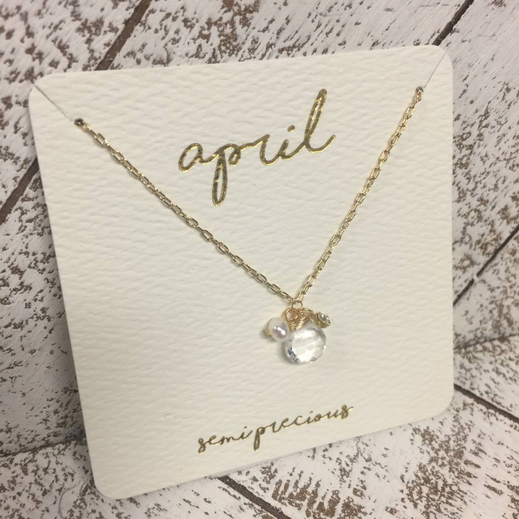 Bonnie Jonas Birthstone Necklace - April/Crystal