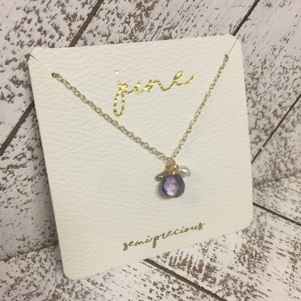 Bonnie Jonas Birthstone Necklace - June/Lt. Amy