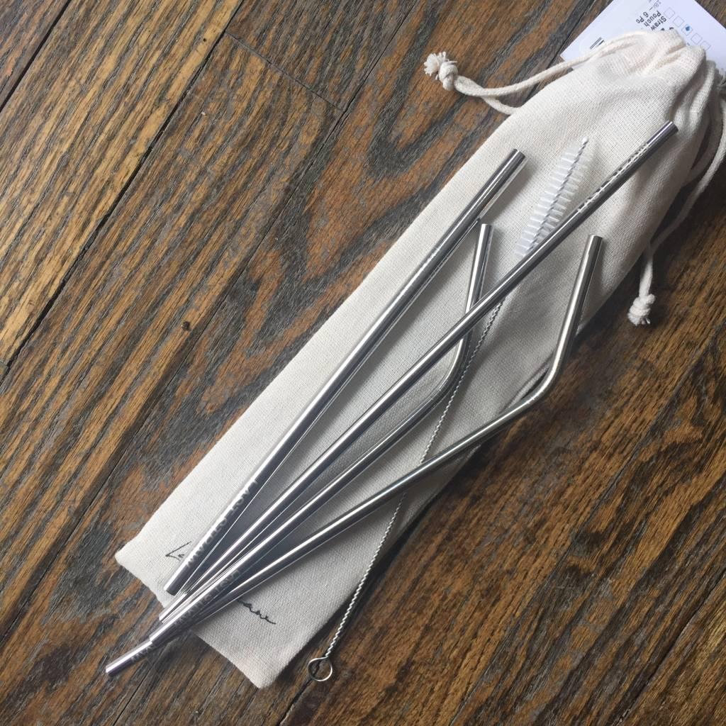 Last Straw Straw Set Linen Pouch - Silver - 6 Pc