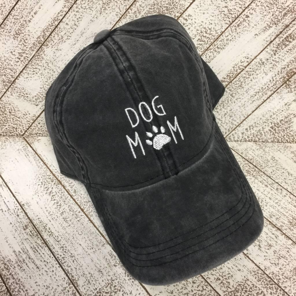 David & Young Washed Baseball Cap - Dog Mom - Black