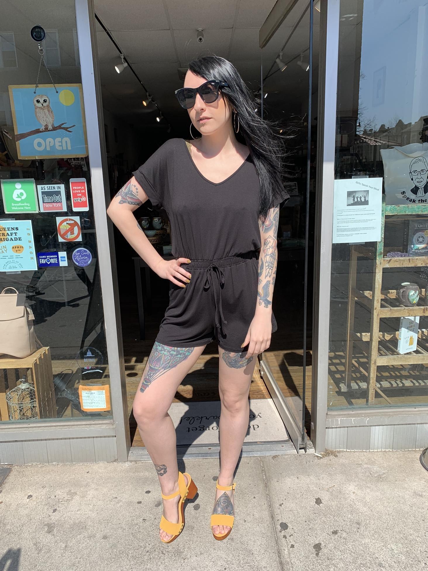 Z Supply The Blaire Sleek Jersey Romper - Black