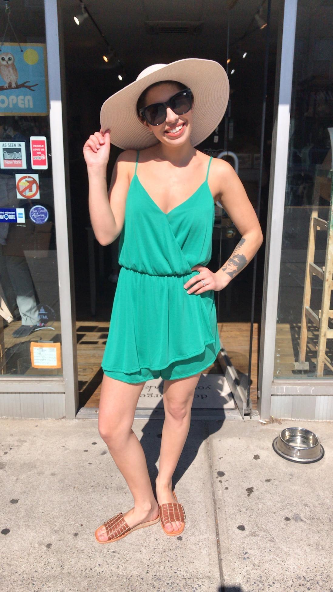 Lush Knit Romper - Emerald