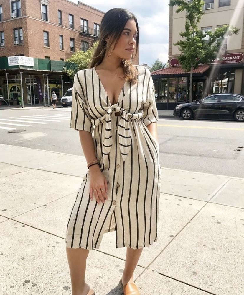 By Together Vertical Stripe Dress - Taupe/Black