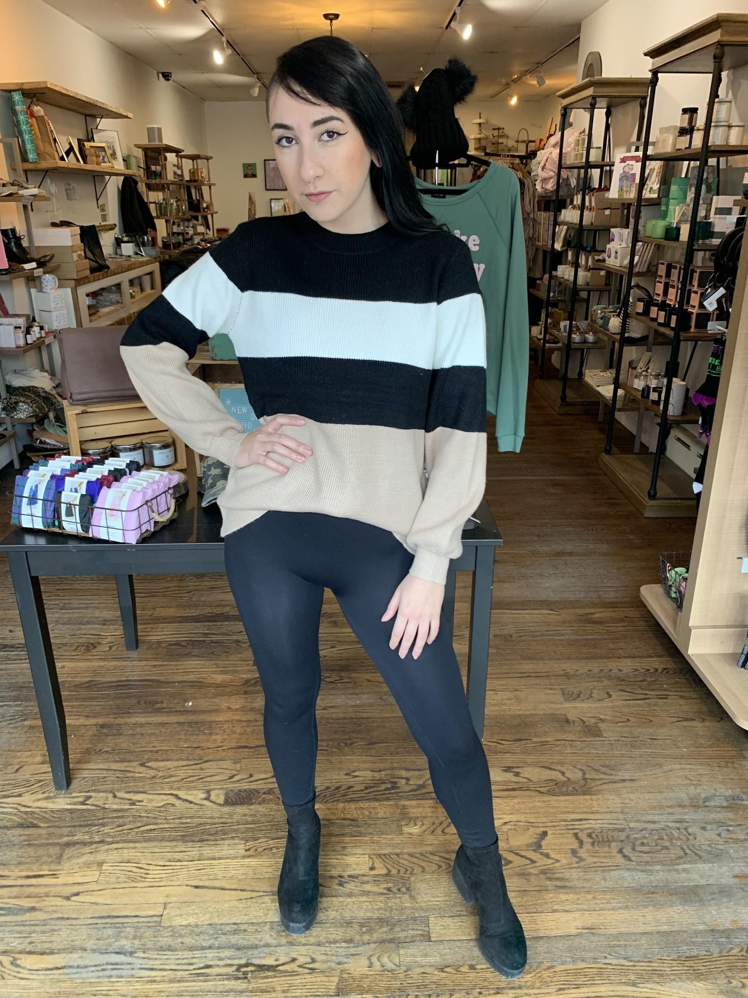 Lelis Block Stripe Sweater-Black/White/Tan