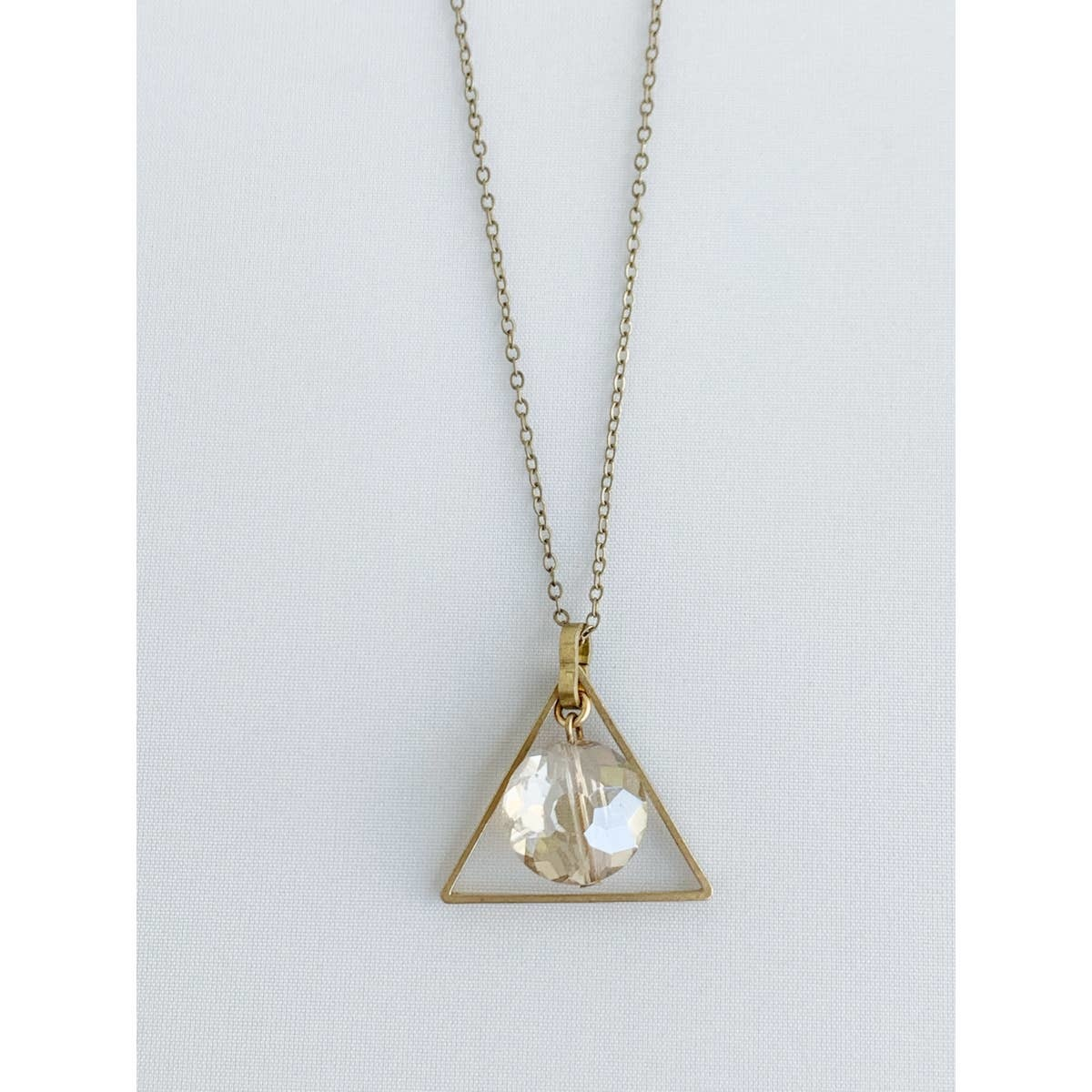 Bou-Cou Triangle w/ Crystal Center Necklace