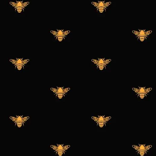 Printed Village Bees Knees - Black/Gold Metallic