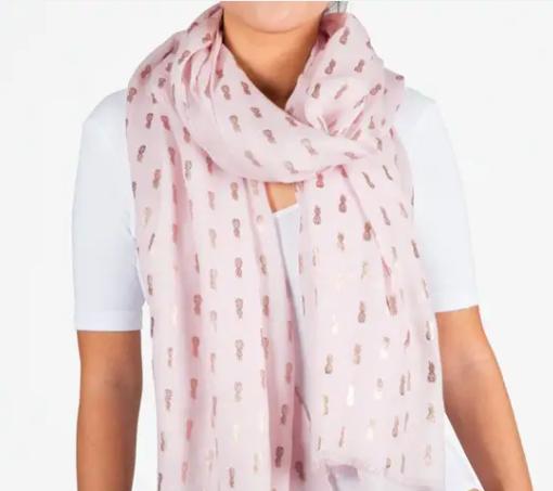 Printed Village Pink Pineapple Metallic Scarf