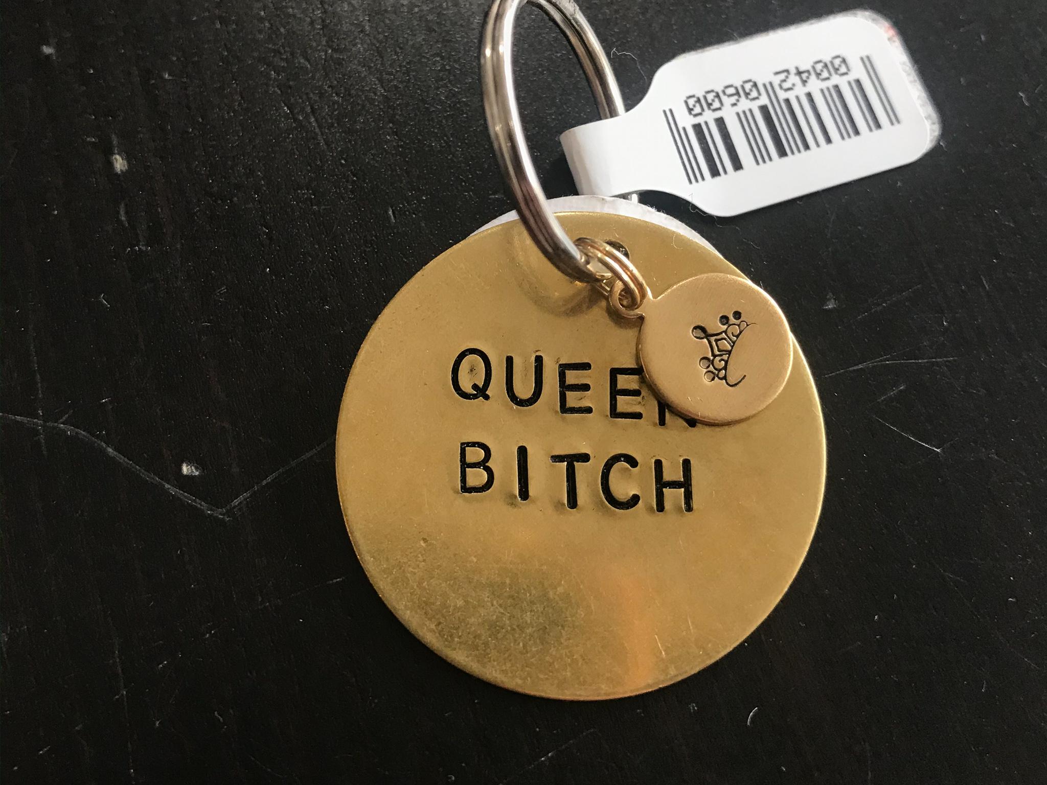 Rockaway Gypsea Brass Circle Keychain - Queen Bitch