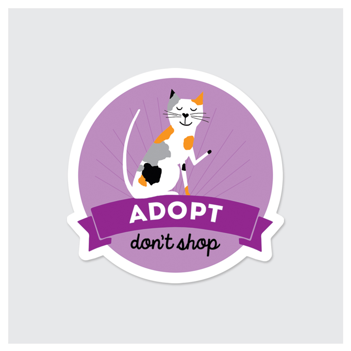 Rock Scissor Paper Sticker- Adopt Dont Shop Cat-FINAL SALE