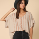 By Together Rayon Gauze Embroidery Top - Taupe/Mauve