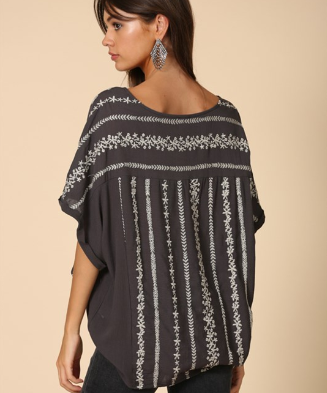 By Together Rayon Gauze Embroidery Top - Grey/Silver