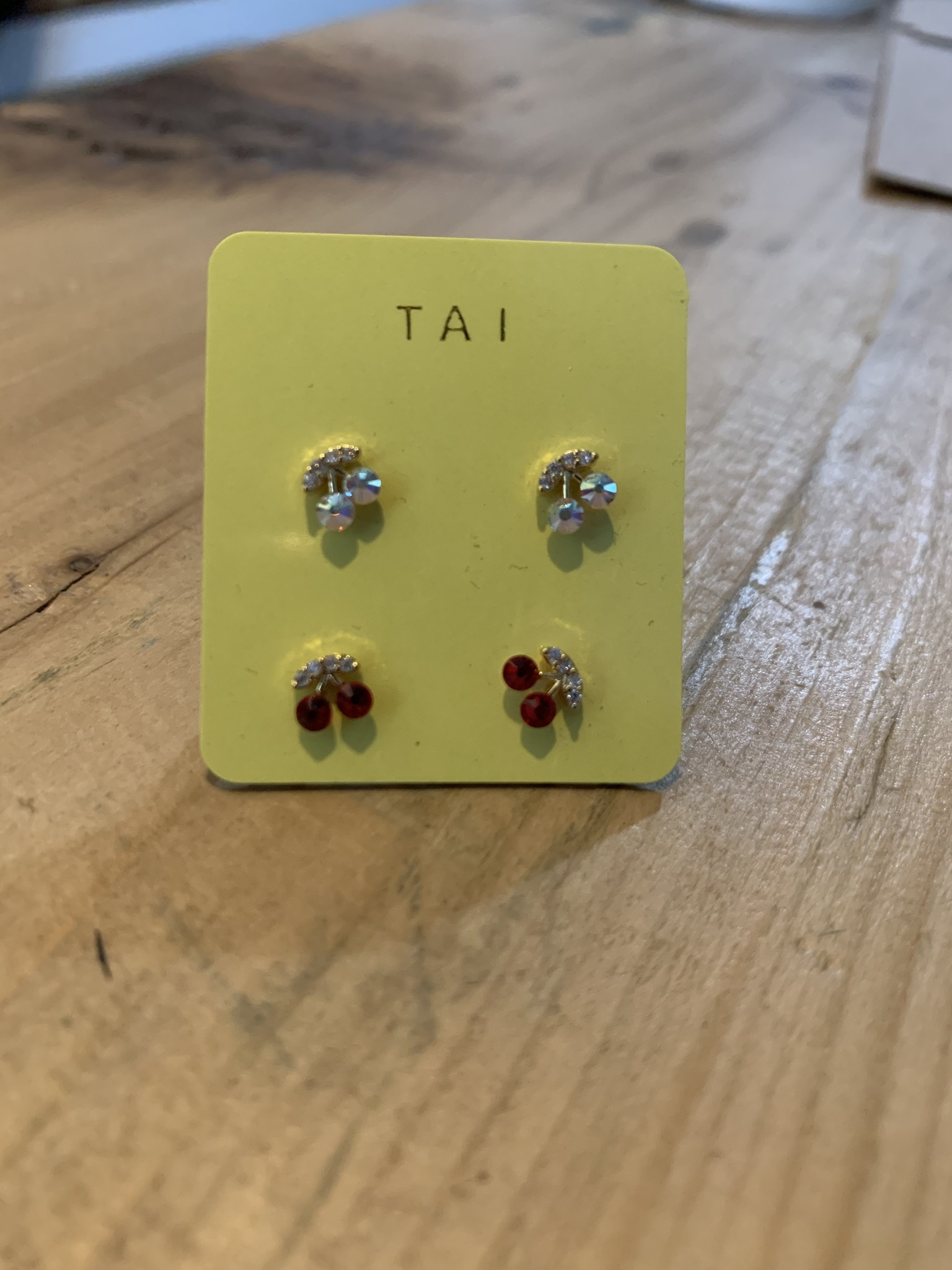 tai Cherry Post Earrings-AB Crystal&Red Cherry