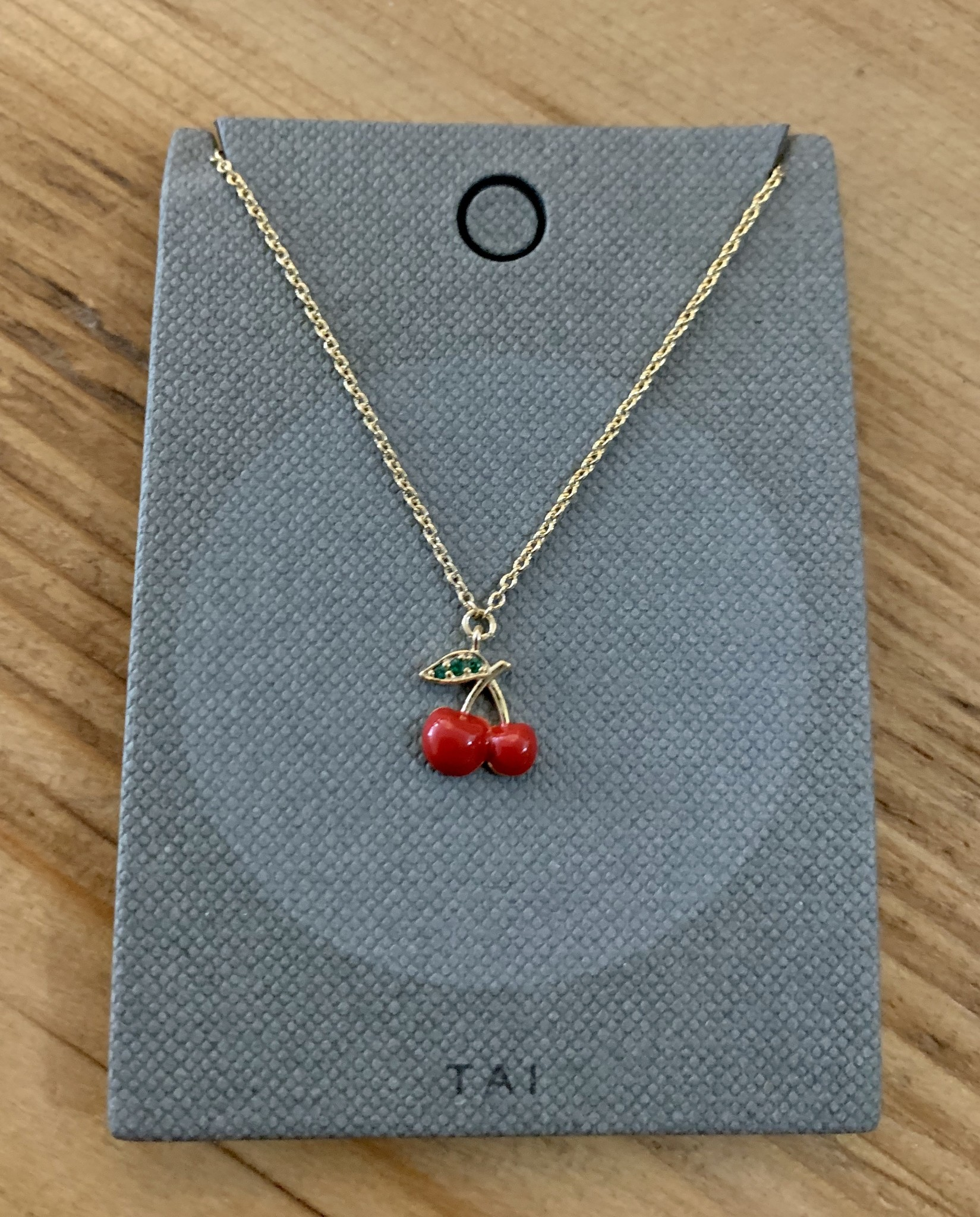 tai Gold Simple Chain w/ Red Enamel Cherry