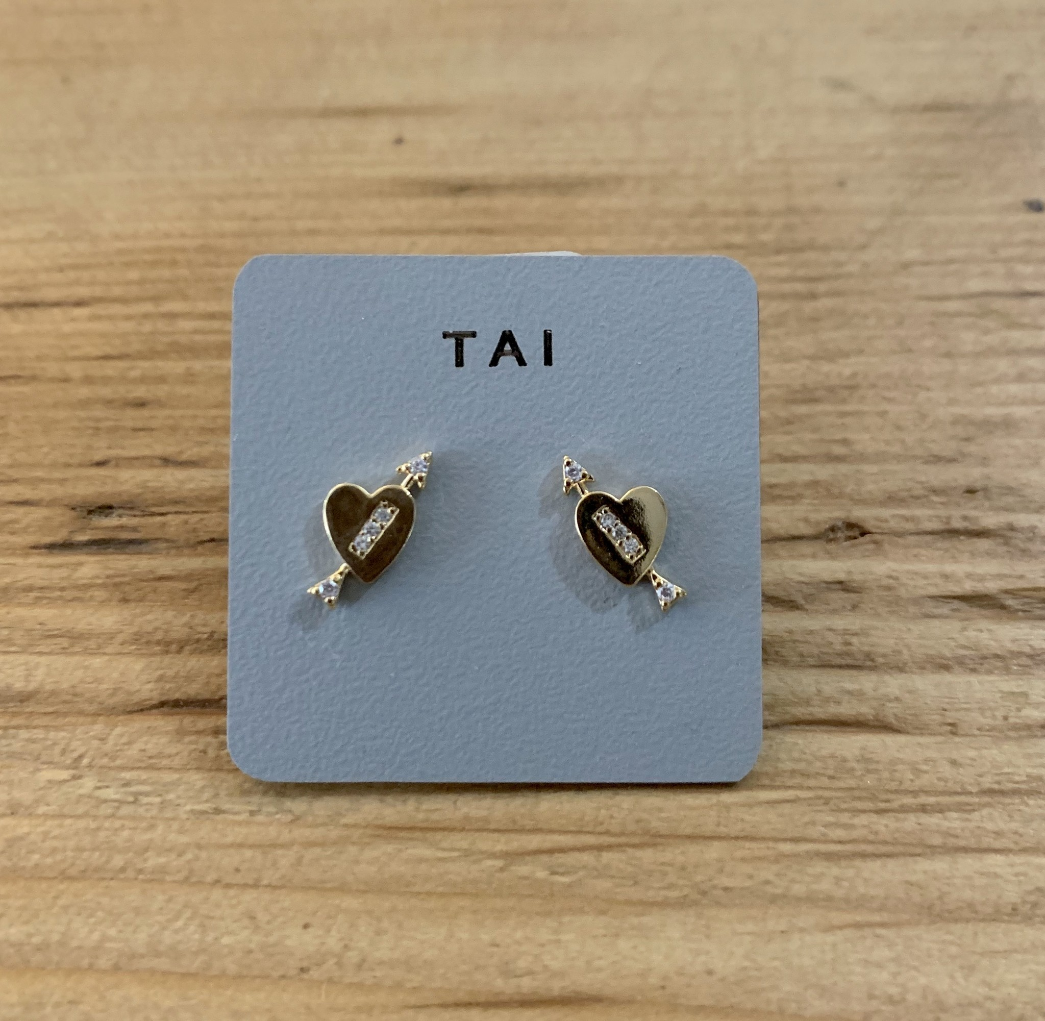 tai Heart w/ CZ Arrow Post Earrings