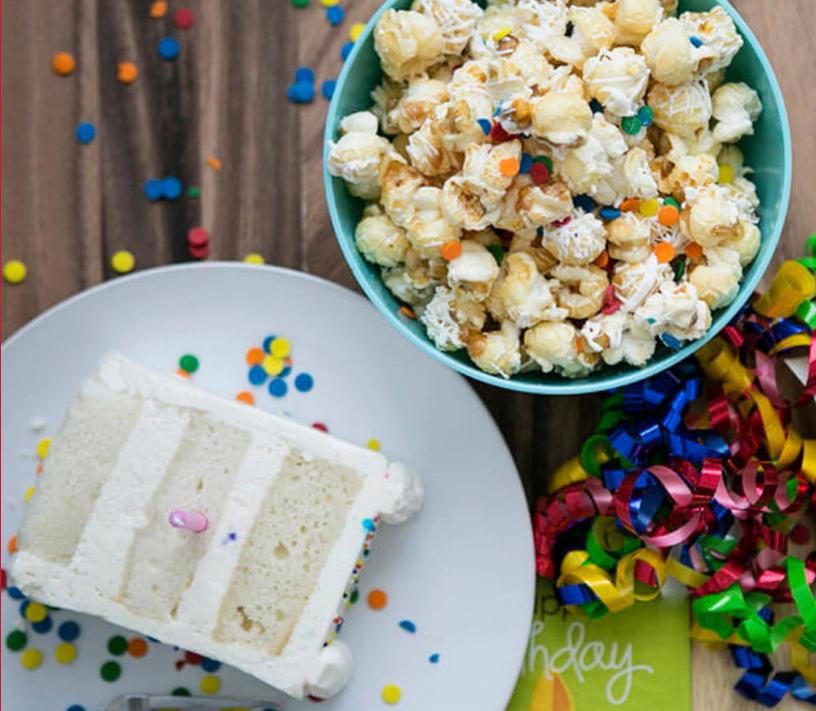 Cornucopia Popcorn Birthday Cake Popcorn