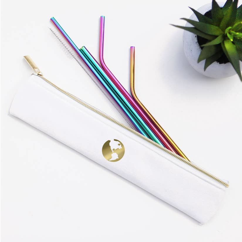 Last Straw Gold Earth - Straw Set Waterproof Lined Bag - Rainbow - 6 Pc