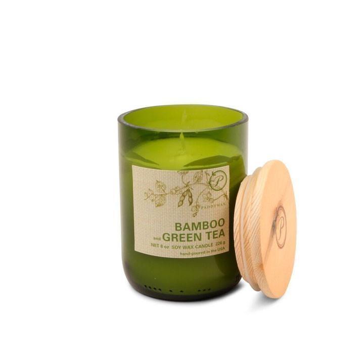 PADDYWAX ECO GREEN 8 OZ GLASS BAMBOO & GREEN TEA