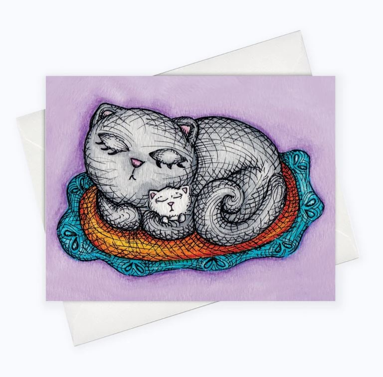 About a Cloud Mother Cat Card