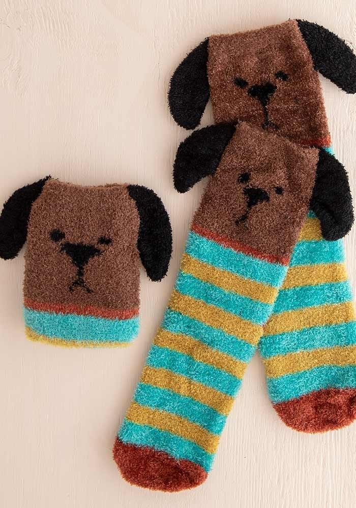 Natural Life Brown Dog Cozy Sock