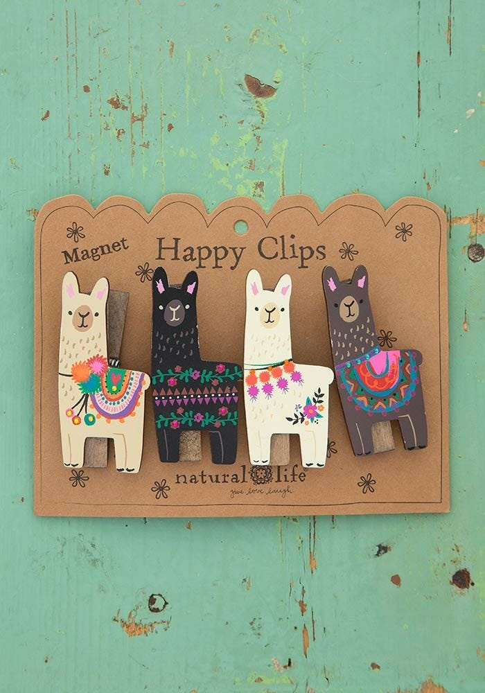 Natural Life Llama Magnet Happy Clip