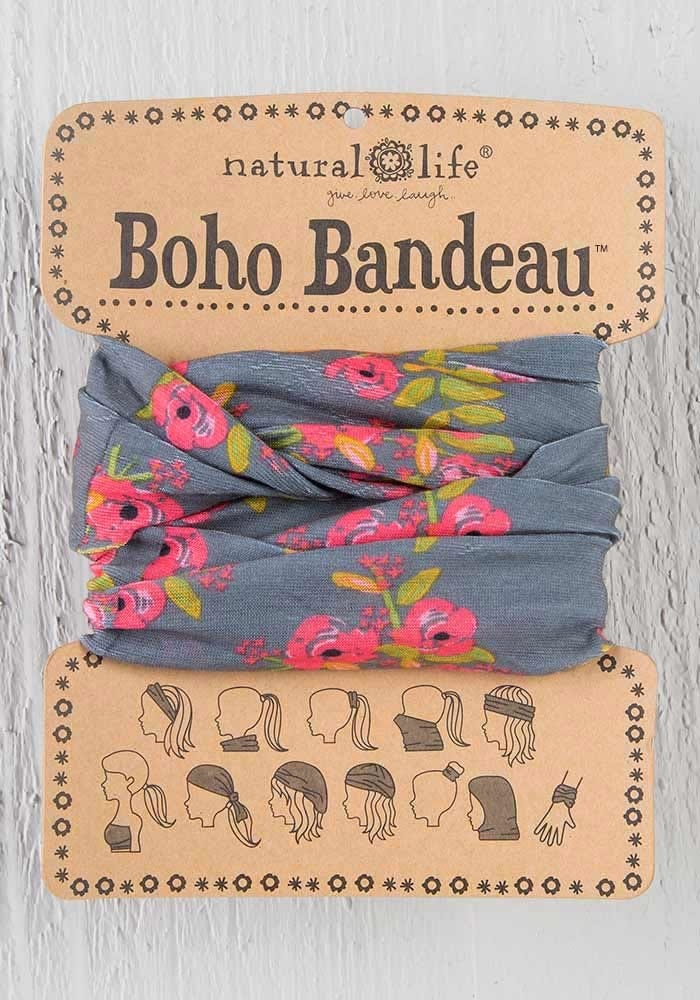 Natural Life Boho Bandeau - Charcoal Blooms