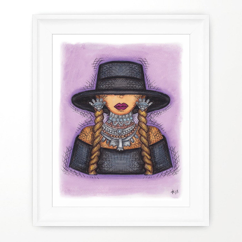 Widycat Queen Bey Print - FRAMED