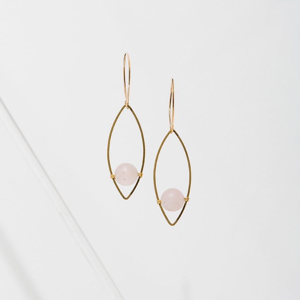 Larissa Loden Georgia Earrings - Rose Quartz